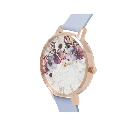 Marble Floral Chalk Blue & Rose Gold Watch