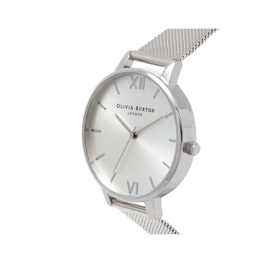 Silver Sunray Mesh Watch