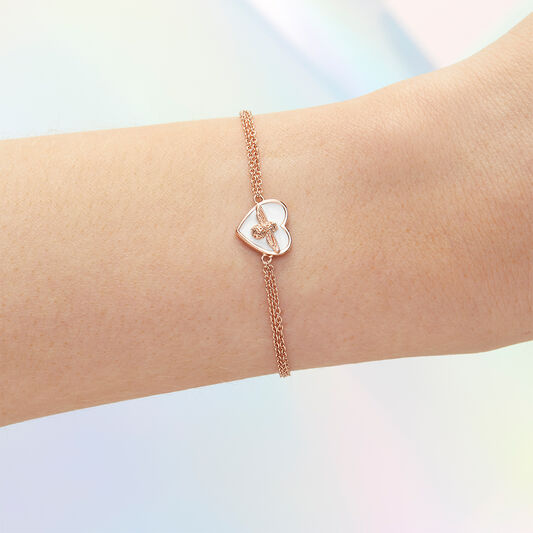 Love Bug Chain Bracelet White & Rose Gold
