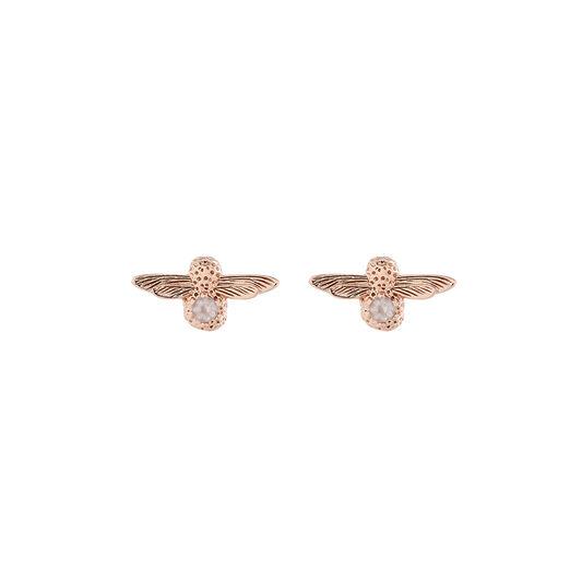 Clous d'oreilles Celebration Bee or rose et quartz rose (octobre)
