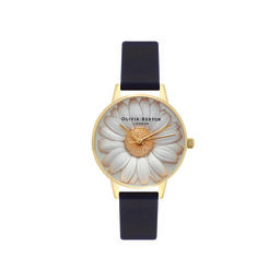 3D Daisy Black & Gold Watch