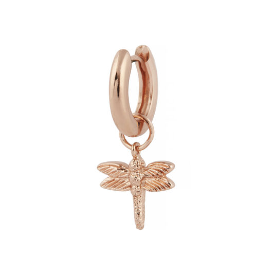Rose Gold Dragonfly Huggie Charm