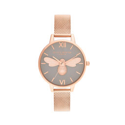 Lucky Bee, Grey Dial & Rose Gold Mesh
