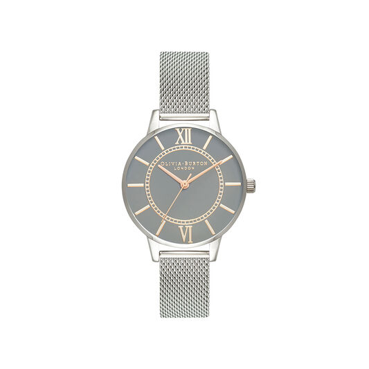 Wonderland Grey Dial, Rose Gold & Silver Mesh Watch