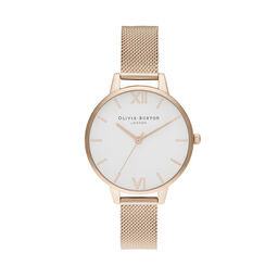 Demi White Dial Pale Rose Gold Mesh
