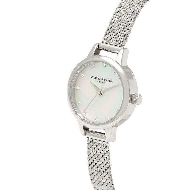 Mini White Mother Of Pearl Dial, Sparkle Markers & Silver Boucle Mesh Watch