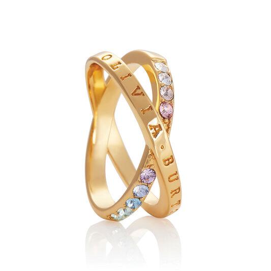 Bejewelled Classics Rainbow Interlink Ring Gold (M)