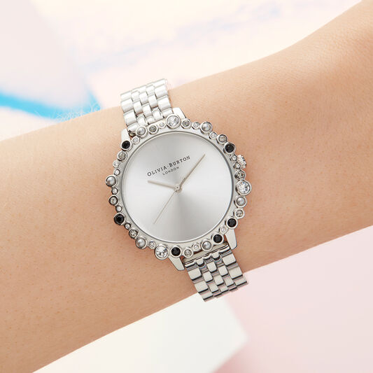 Limited Edition Bejewelled & Silver Bracelet Watch