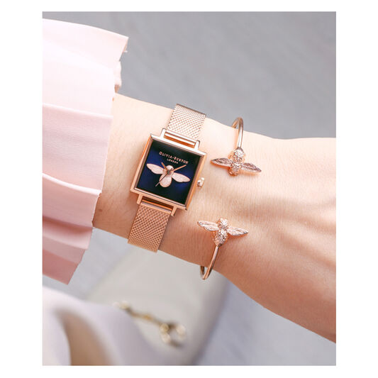 3D Bee Open Rose Gold Bangle