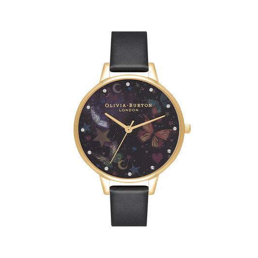 Demi Night Garden Butterflies Black & Gold Watch