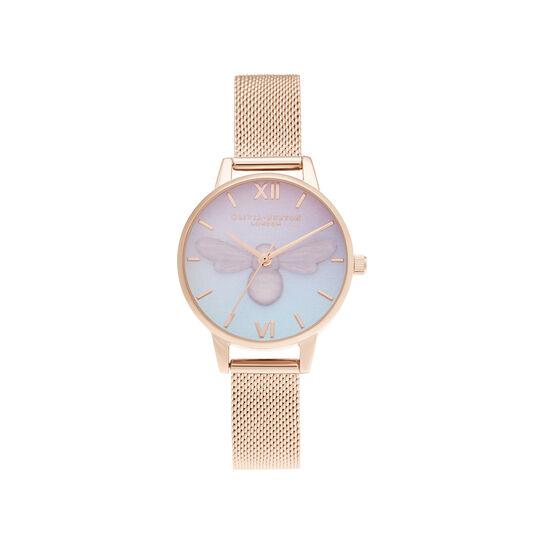 Sweet Bee Midi Rose Gold Mesh Watch