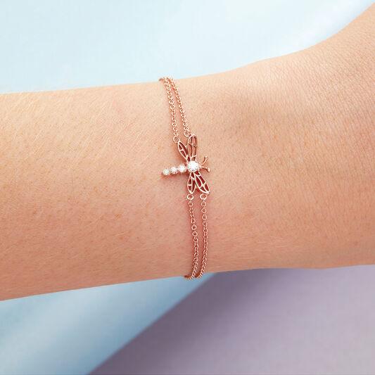 Dancing Dragonfly Chain Bracelet Rose Gold