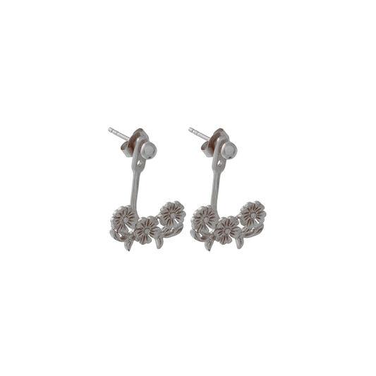 Lace Detail Jacket Earrings Silver