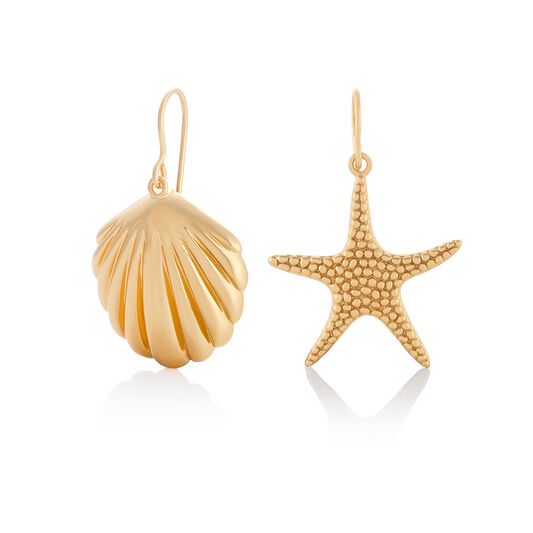 Shell & Starfish Gold Sleeper Earrings