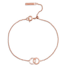 Bejewelled Interlink Chain Bracelet Rose Gold