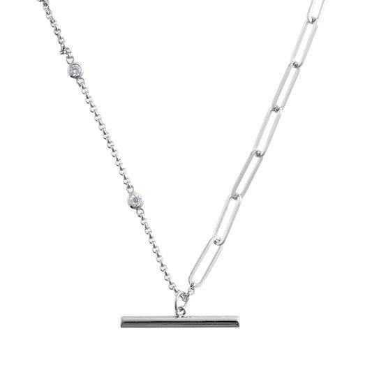 Classic Mismatch Tbar Silver Necklace