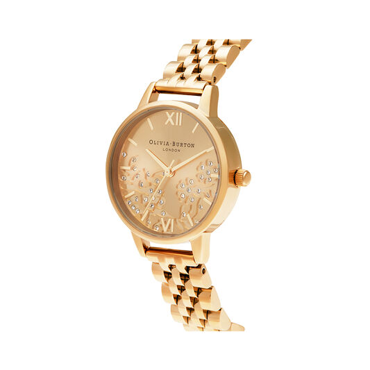 Bejewelled Lace Gold Watch
