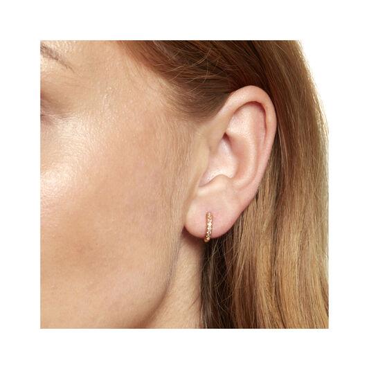 Gold White Topaz Huggie Hoop Earrings