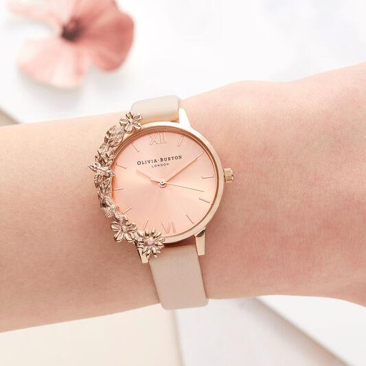 Olivia Burton Case Cuff Nude Peach and Rose Gold Watch