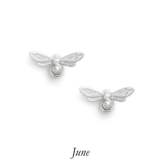 Celebration Stones Celebration Bee Studs Silver & Pearl (June)