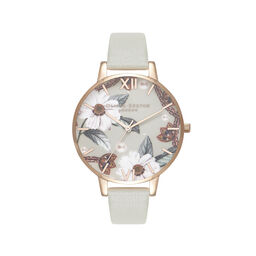 Bejewelled Floral Grey And Rose Gold