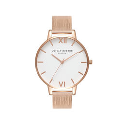 Big Dial Rose Gold Mesh Watch