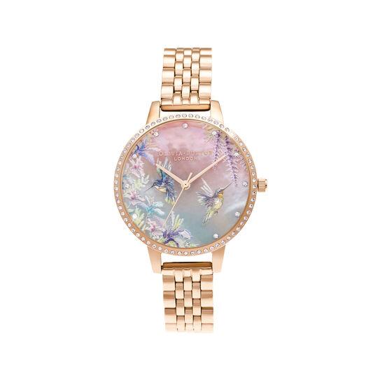 Sparkle Hummingbird Rose Gold Bracelet Watch