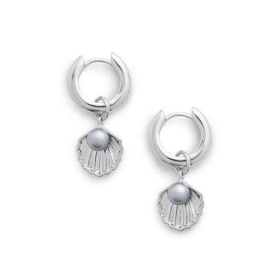 Under The Sea Huggie Hoops Pearl & Silver