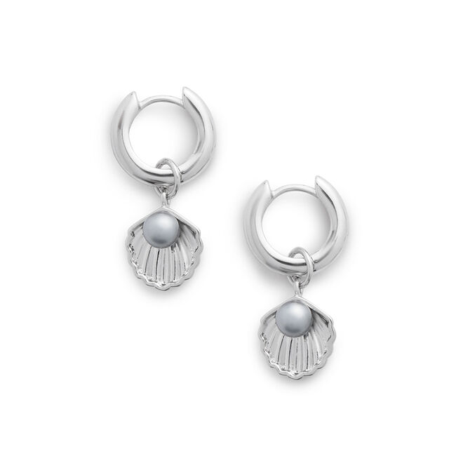 Under The Sea Shell Huggie Hoops White Pearl & Silver