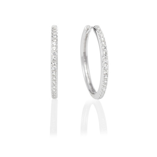 Cubic Zirconia & Silver Hoop Earrings