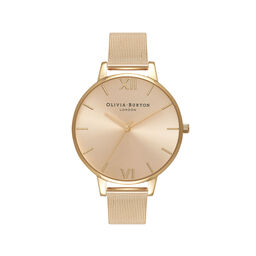 Big Dial Gold Sunray Mesh Watch