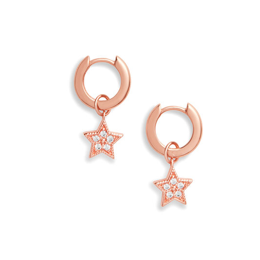 Celestial Star Charm Huggies Rose Gold