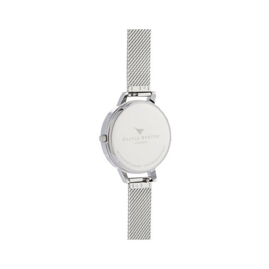 Sunray Silver & Rose Gold Boucle Mesh Watch