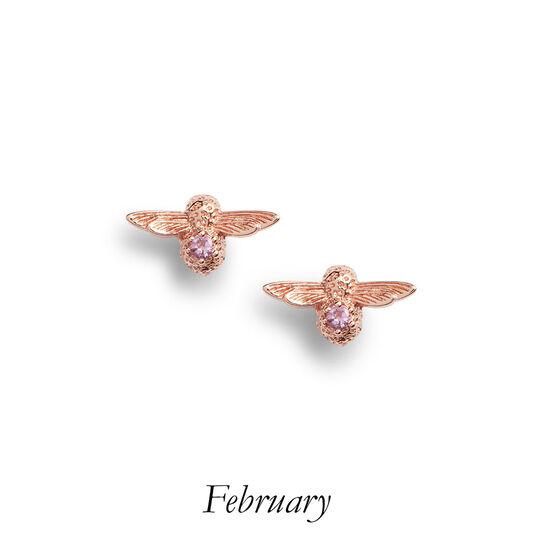 Bejewelled Bee Stud Earrings Rose Gold & Amethyst