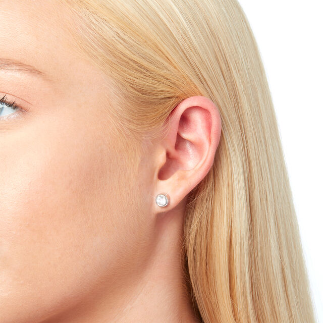 Bejewelled Classics Round Stud Earring Silver