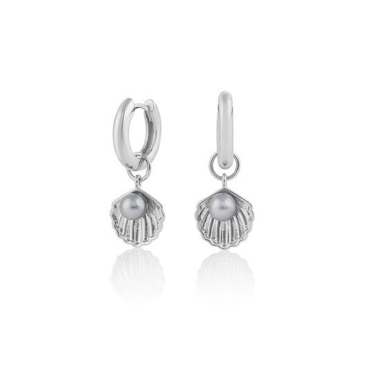 Under The Sea Huggie Hoops Pearl & Silver