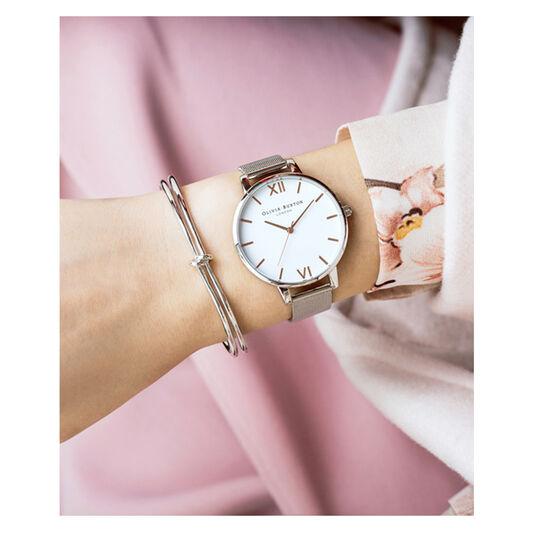 Big Dial Rose Gold Mesh Watch
