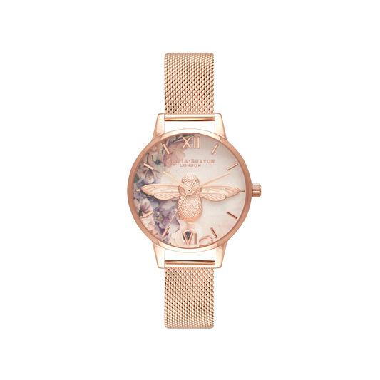 Watercolour Florals Rose Gold Mesh Watch
