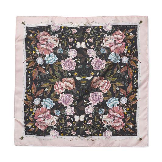 Signature Floral Square Silk Scarf Black