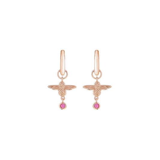 Mum to Bee Huggie Hoop Pink & Rose Gold