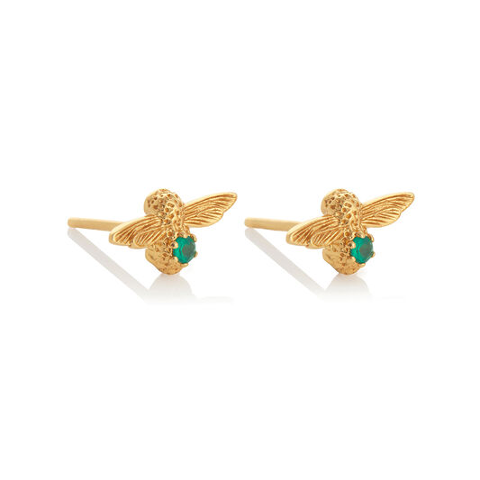 Celebration Gold & Green Agate Bee Studs