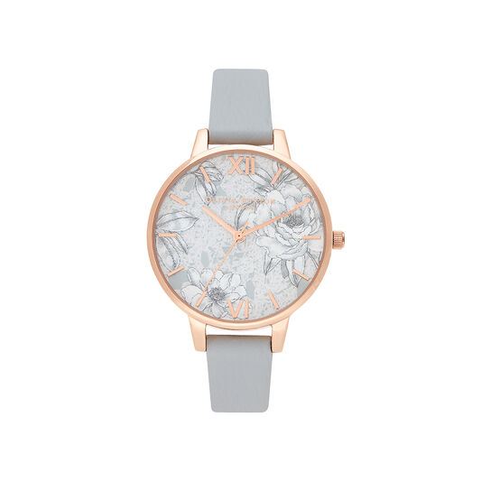 Terrazzo Florals Eco Light Grey & rose Gold