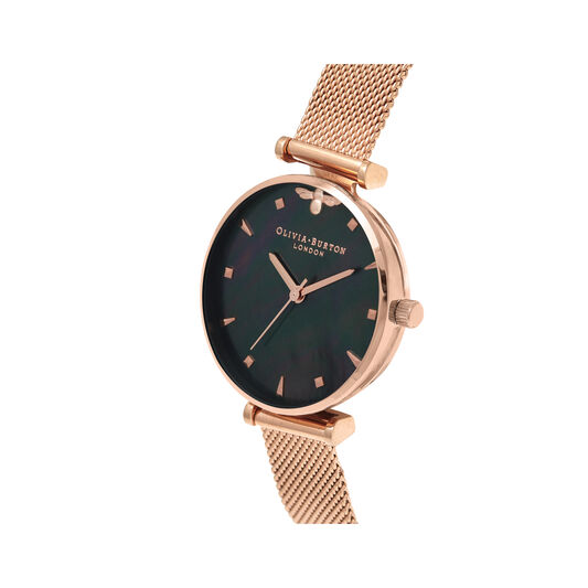 Queen Bee Black Mother of Pearl Rose Gold Mesh