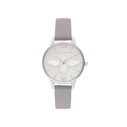 3D Bee Midi Dial Grey Lilac Rose Gold & Silver