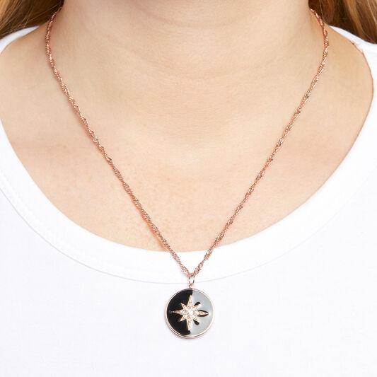 North Star Black & Rose Gold Pendant