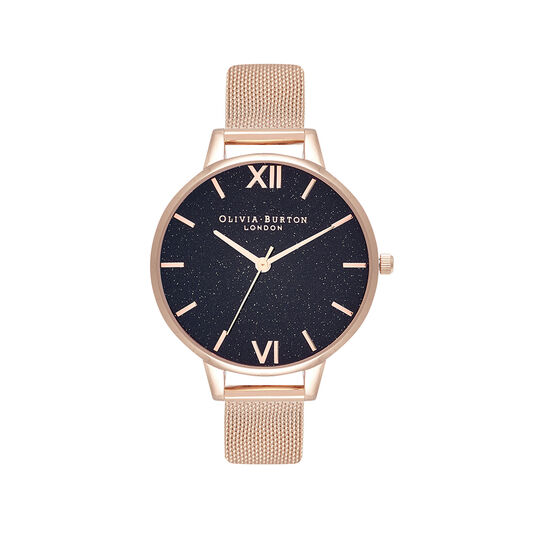 Montre Demi à bracelet milanais or rose et cadran Glitter noir