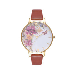 Enchanted Garden Tan & Gold Watch