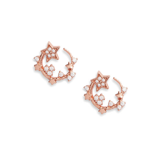 Celestial Rose Gold Swirl Hoops