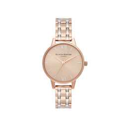 Midi Dial Pale Rose Gold & Silver Watch