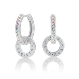 Bejewelled Classics Rainbow Interlink Huggie Hoops Silver